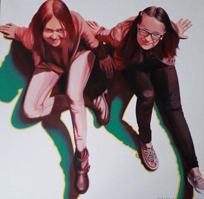 Mädchen Acryl Leinen 80×80 cm