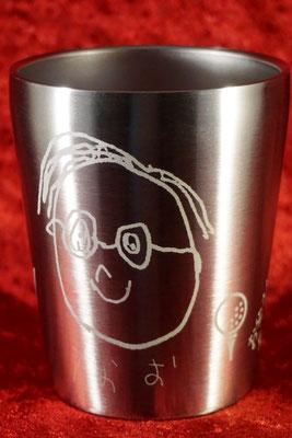 名入れ  子供が描いた イラスト 絵 そのまま 敬老の日 還暦祝い 製作 格安 オーダーメイド オリジナル グラス ステンレス 父の日 母の日 名前 お祝い オーダー