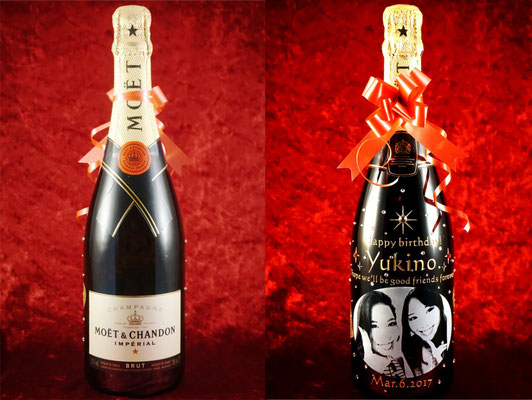 モエ・エ・シャンドン 女子会 オリジナルボトル オーダーメイド 写真 世界で1つ