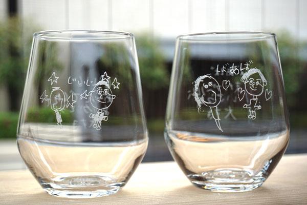 イラスト 子供の描いた  記念品 名入れ ロゴ ノベルティ 販促 プレゼント グラス オリジナル 格安 製作 オシャレ 東京 プレゼント