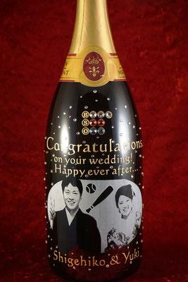 結婚祝い マグナム ボトル 写真  シャンパン ワイン 世界で1つ オーダーメイド 名入れ ロゴ 格安 オリジナルボトル 製作 東京 酒 オーダー 名前