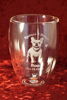 ペット 写真 オリジナル グラス コップ ボダム ダブルウォール ロゴ 名入れ 名前 おしゃれ 東京 安い ノベルティ プレゼント