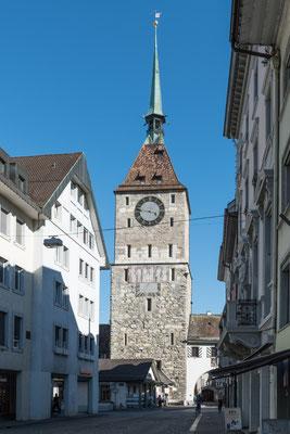 Oberer Turm von Aarau, das Uhrwerk wird heute noch täglich aufgezogen.