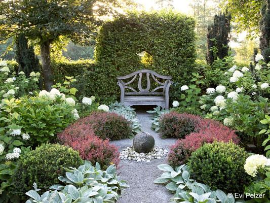 Weißer Garten mit Hortensien in Monis Rosengarten