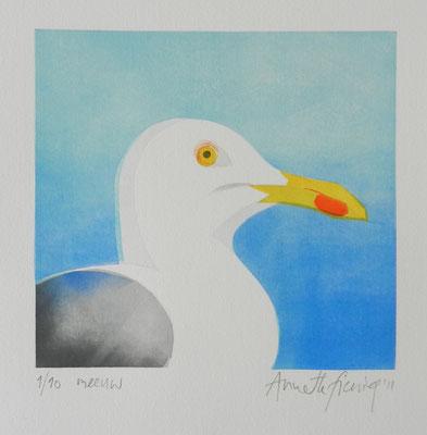 Annette Fienieg: Meeuw, sjabloondruk 2011