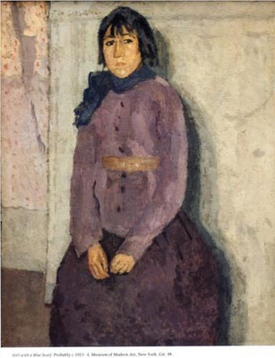 Gwen John; girl in a blue scarf