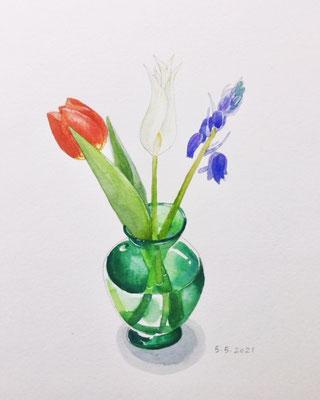 Annette Fienieg: Roodwitblauwe bloemen; 5-5-2021