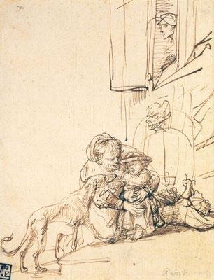 Rembrandt van Rijn: moeder en kind met hond