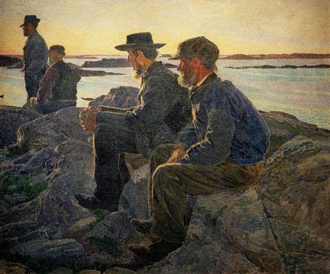 Carl Wilhelmson: op een rots bij Fiskebackskil
