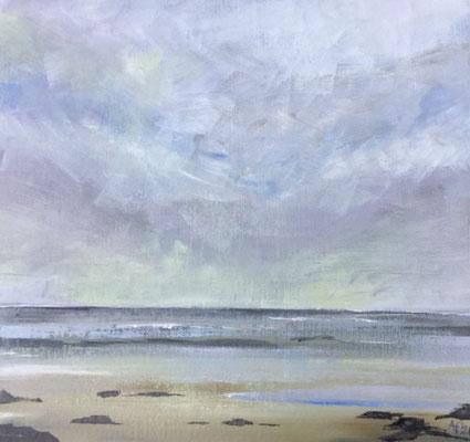 Annette Fienieg: Wadden sea, acrylics on cardboard 21 x 22 cm