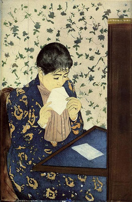 Mary Cassatt: The letter colour etching
