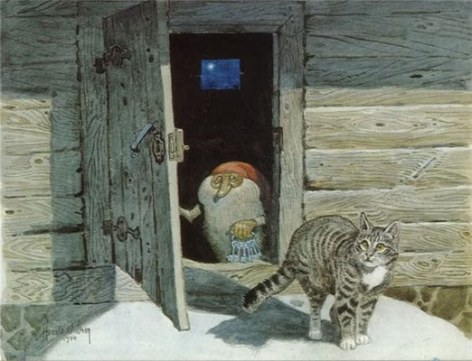 Harald Wiberg: Tomte and cat