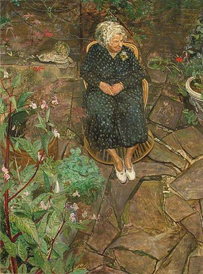 Carel Weight: The old woman in the garden No. 2