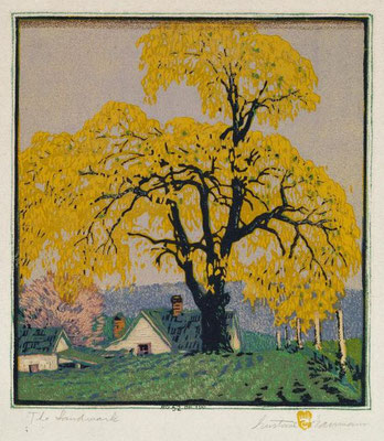Gustave Baumann: The landmark, woodcut