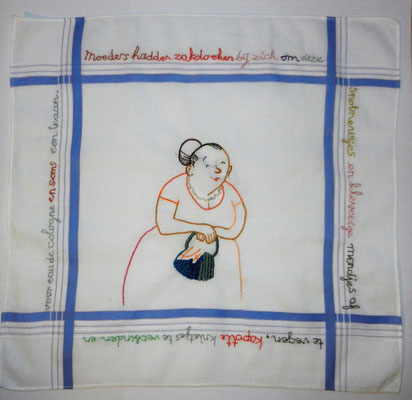 Annette Fienieg: Moeders; geborduurde illustratie op zakdoek, privé opdracht