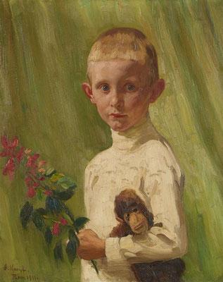 Arthur Kampf: Jongen met bloeiende tak en speelgoedaap