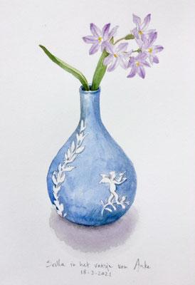 Annette Fienieg: Scilla in Anke's vase; 18-3-2021
