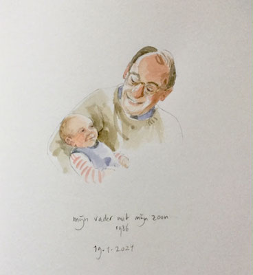 Annette Fienieg: My father with my son; 19-1-2021
