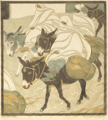 Norbertine Bresslern-Roth, linoleumsnede: ezeltjes