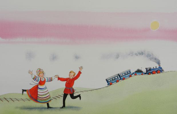 Annette Fienieg: illustratie Rusland, De Liedjesatlas, Rubinstein 2015