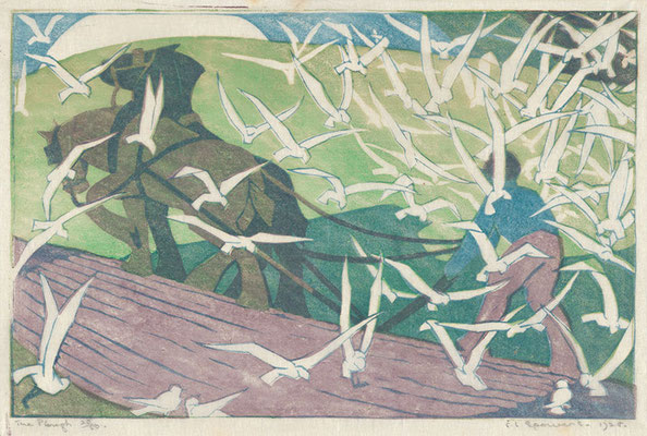 Ethel Spowers: the plough, linocut