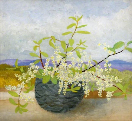 Winifred Nicholson: Cumberland landscape with flowers