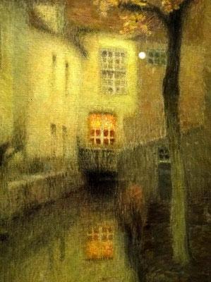 Henri Le Sidaner: gracht in Brugge, schemer