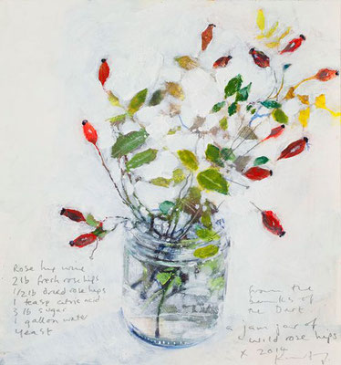 Kurt jackson; A jam jar of wild rose hips