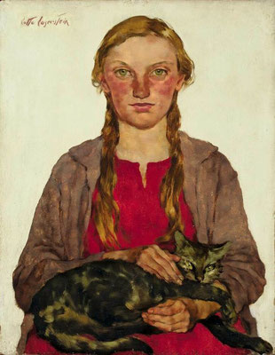 Lotte Laserstein: Girl with cat