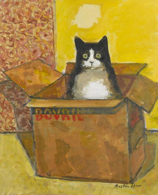 Ruskin Spear: Cat in a Bovril box
