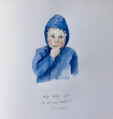 Annette Fienieg: Mijn zusje, 1963? (ze eet een koekje); 22-1-2021