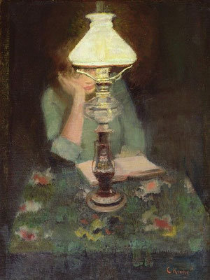 Christian Krogh: Oda with lamp