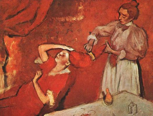 Edgar Degas: bediende kamt het haar van een vrouw
