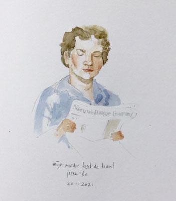 Annette Fienieg: Mijn moeder leest de krant, jaren '60; 20-1-2021