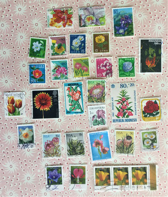 postzegels :bloemen