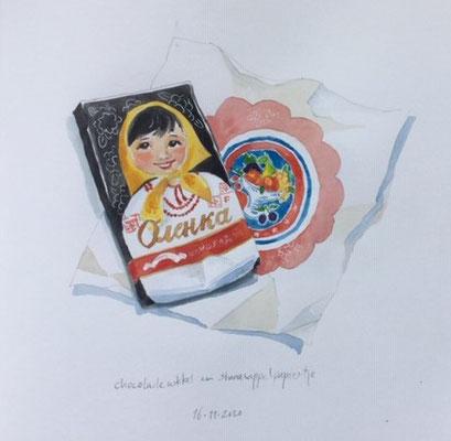 Annette Fienieg: Russische chocolade wikkel, en sinaasappelpapiertje; 16-11-2020