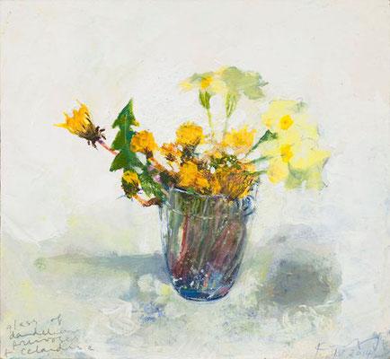 Kurt jackson; Dandelions, primroses and celadine