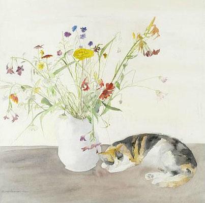 Elisabeth Blackadder: Kat en bloemen