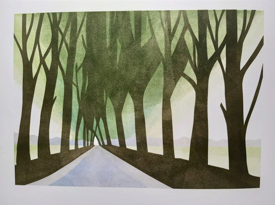 Annette Fienieg: template print 2020 Lane with trees