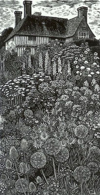 Sue Scullard: Great Dixter; wood engraving