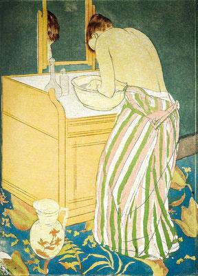 Mary Cassatt: Woman bathing, colour etching