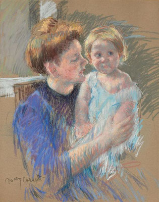 Mary Cassatt: Mother in purple holding her child, pastel