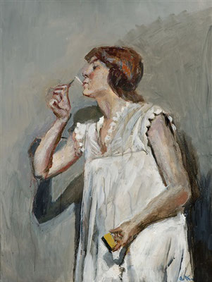 Christian Krogh: Woman with cigarette