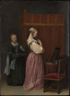Gerard ter Borch: A young woman at her toilet, with a maid