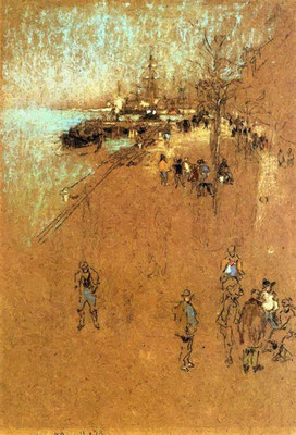 James Abbott McNeill Whistler: The Zatterre; Harmony in blue and brown