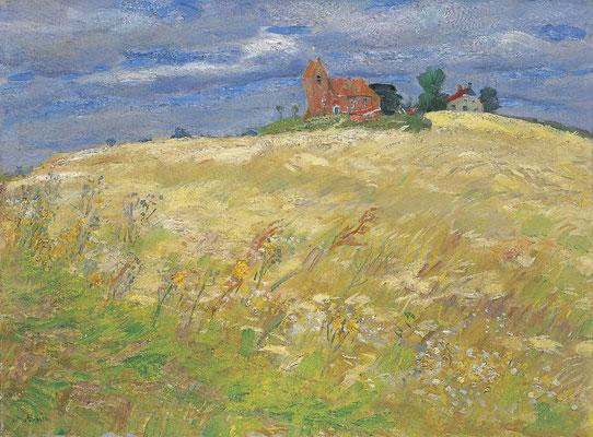 Johan Dijkstra: Landschap met kerkje van Oostum