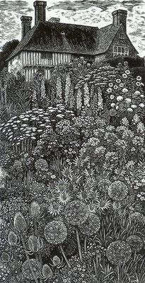 Sue Scullard: Great Dixter: houtgravure