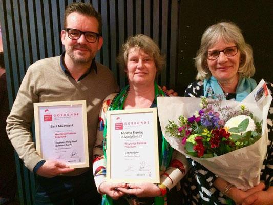 Genomineerden Bart Moeyaert, Annette Fienieg en Marjolijn Hof; foto Querido