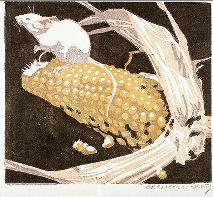 Norbertine Bresslern-Roth, linocut: Mouse