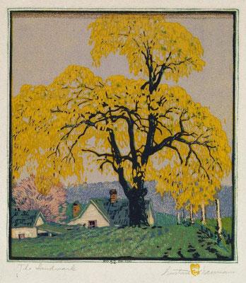 Gustave Baumann: The landmark, houtsnede